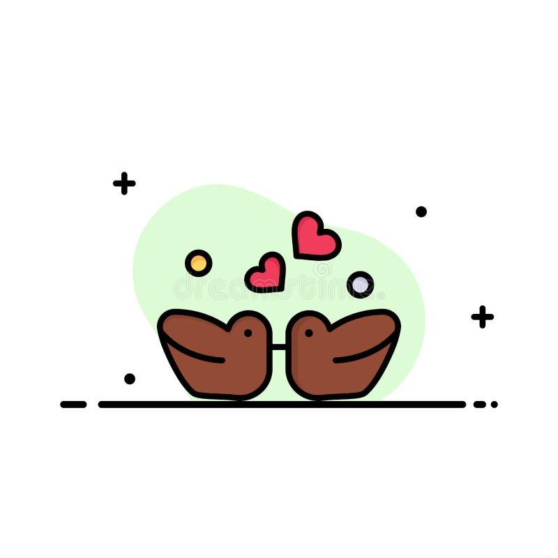 Ptaki, Lovebirds, para, Nurkują Biznesowego logo szablon p?aski kolor royalty ilustracja