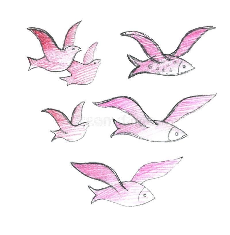 Ptaki migrujący i latająca ryba Kierdel dzika ryba i ptaki pojedynczy bia?e t?o Rysowa? z Barwionymi o??wkami ilustracja wektor