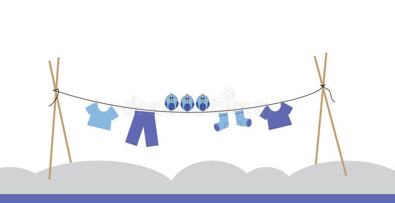 Ptaki na clothesline obraz royalty free