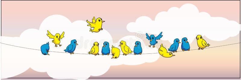Ptaki na drucie ilustracji