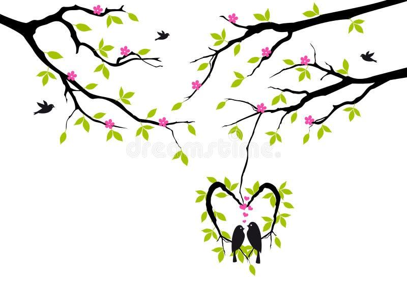 Ptaki na drzewie w serca gniazdeczku,   ilustracja wektor