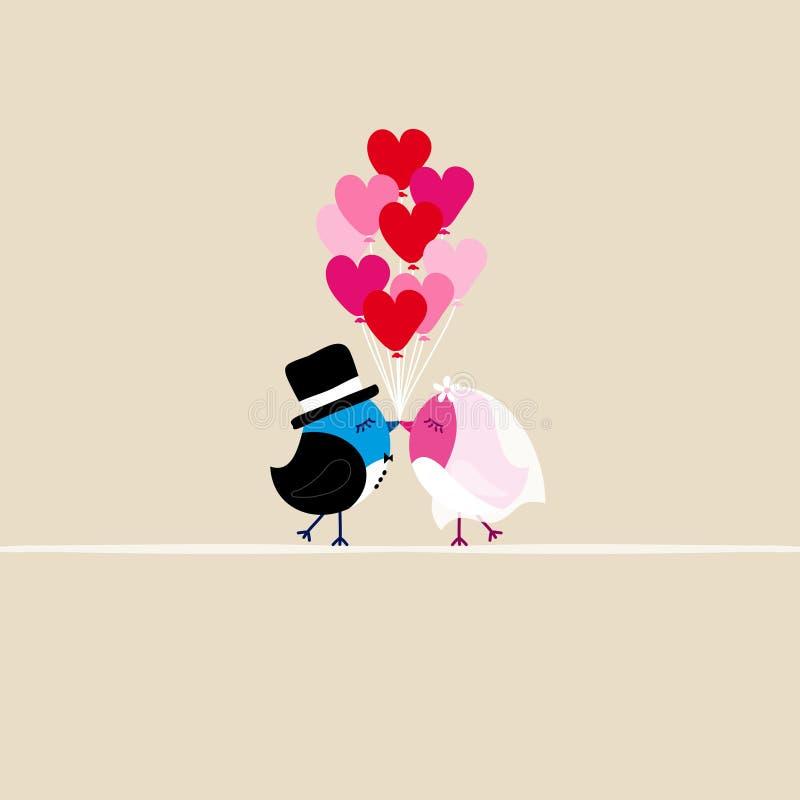 Ptaki Poślubia całowanie Trzyma Dziewięć Kierowych balonów Beżowi royalty ilustracja