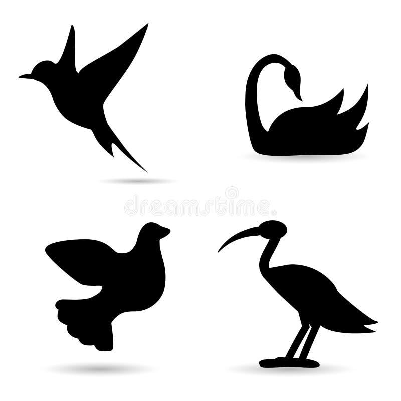 Ptaki, przyrody ikony set ilustracja wektor