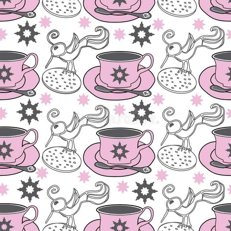 Ptaki, ptak Herbaciane filiżanki i ogródu Herbaciany przyjęcie, Bezszwowy powtórka wzoru swatch ilustracji