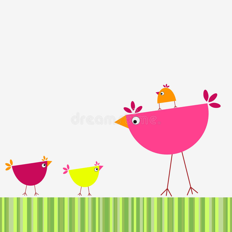 ptaki rodzinni royalty ilustracja