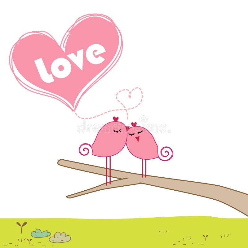 ptaki rozgałęziają się całowanie ilustracja wektor