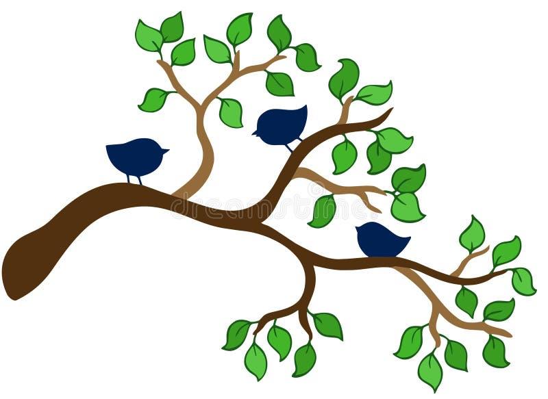ptaki rozgałęziają się mali trzy ilustracja wektor
