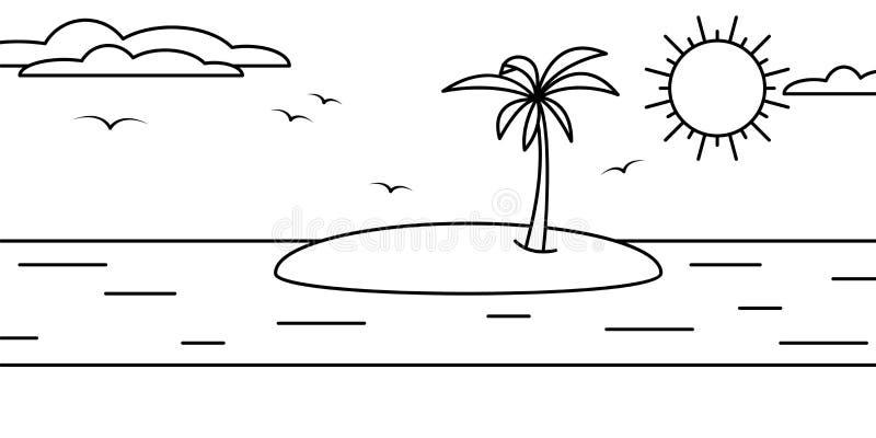 Ptaki słonecznego nieba w krajobrazie, ilustracja palmy morskiej ilustracja wektor