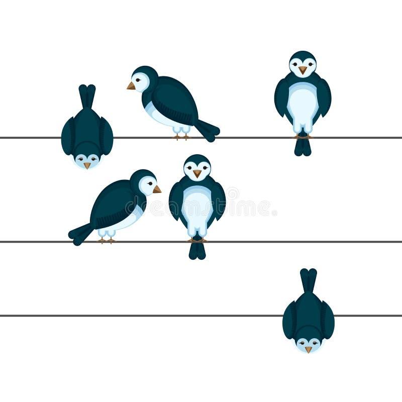 Ptaki siedzi na drucie w różnej pozycja wektoru ilustraci ilustracji
