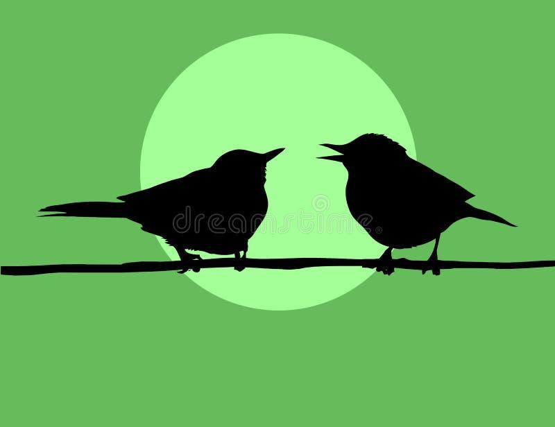 ptaki silhouette dwa ilustracja wektor