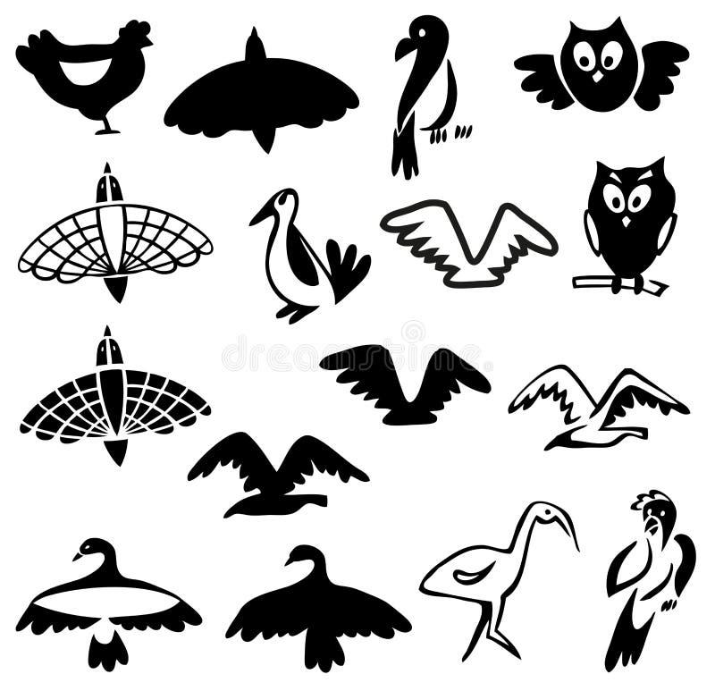 ptaki stylizowali royalty ilustracja