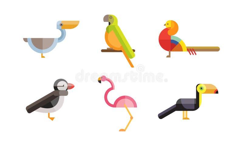 Ptaki ustawiają dalej, pieprzojad, pelikan, flaming, papuzi ptak, kolorowe poligonalne niskie poli- geometrycznego projekta vvect royalty ilustracja