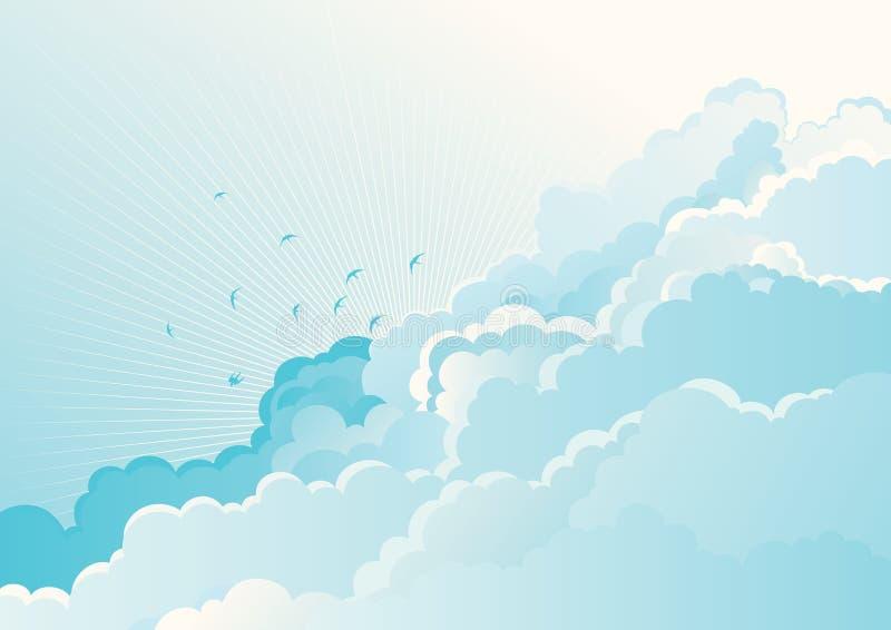 Download Ptaki w chmurnym niebie ilustracja wektor. Ilustracja złożonej z błękitny - 28964684