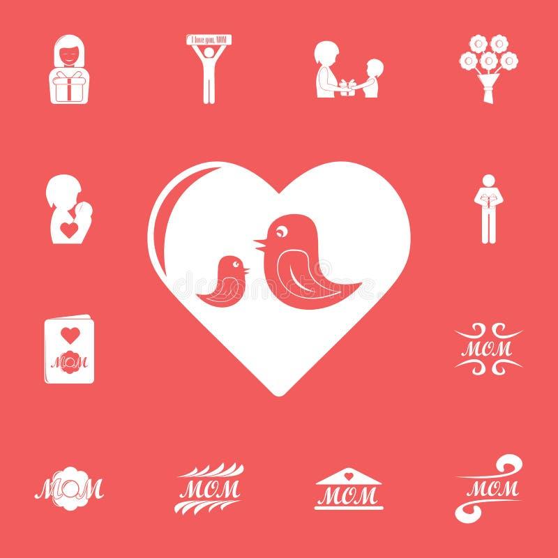 ptaki w kierowej ikonie Szczegółowy set macierzystego dnia ikony Premia graficzny projekt Jeden inkasowe ikony dla stron internet ilustracja wektor