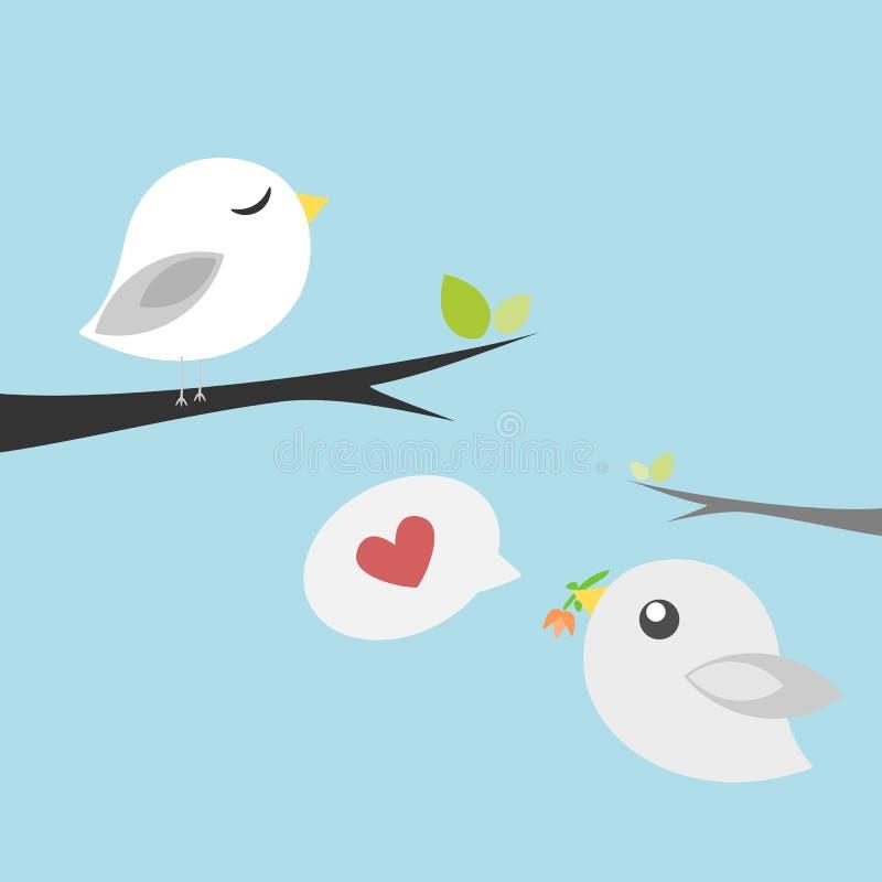 Ptaki w miłości Daje kwiatu obraz royalty free