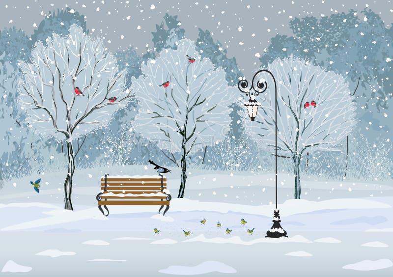 Ptaki w parku ilustracji