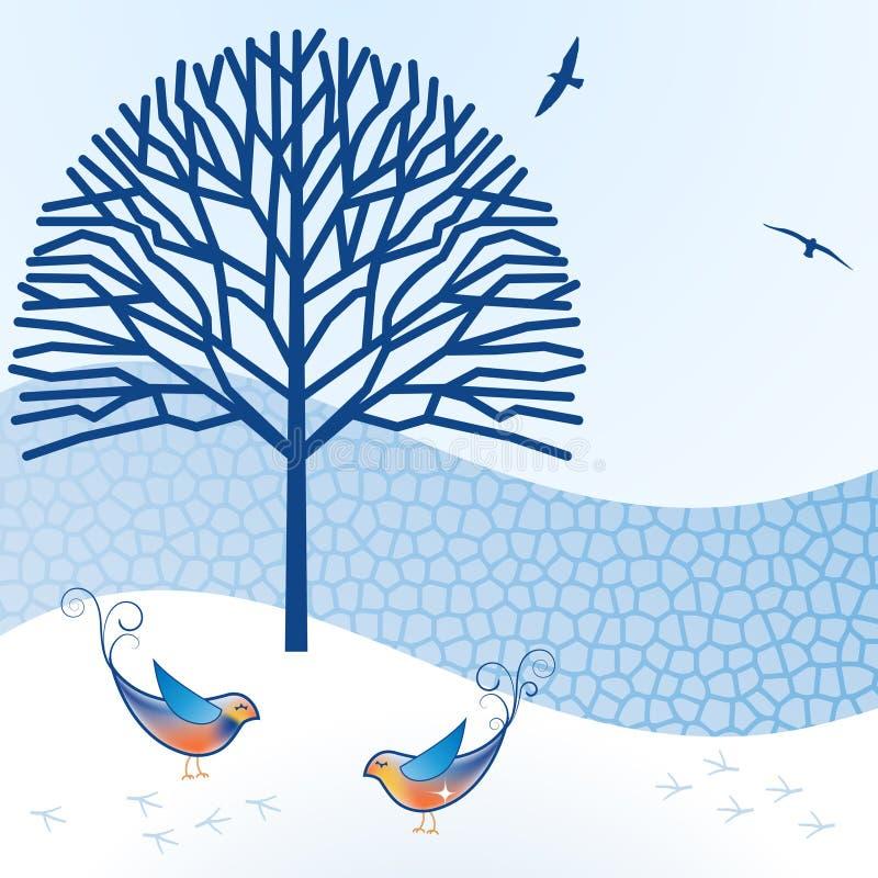 Ptaki z ściana z cegieł i drzewem ilustracja wektor