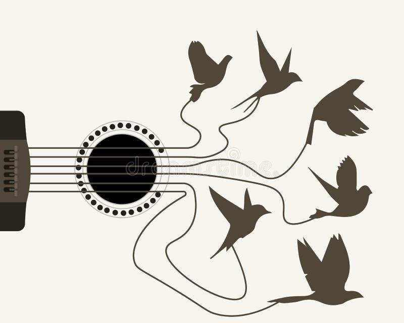 Ptaki znoszą gitara sznurki ilustracja wektor