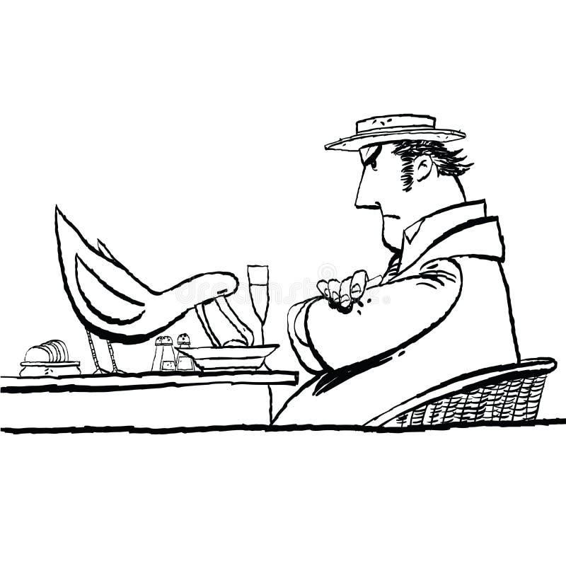 Ptasi łasowania jedzenie od talerza ilustracja wektor