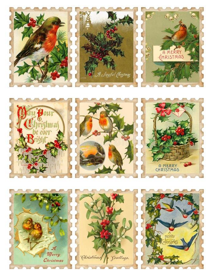 ptasi dziewięć bożych narodzeń holly ustalony znaczków rocznik ilustracja wektor