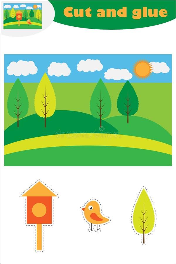 Ptasi i gniazdować pudełkowatą kreskówkę, edukacji gra dla rozwoju preschool dzieci, używa nożyce i kleidło tworzyć ilustracja wektor