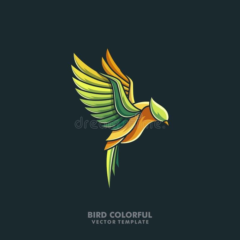 Ptasi Kolorowy Kreskowej sztuki projekta ilustracyjny wektorowy szablon royalty ilustracja