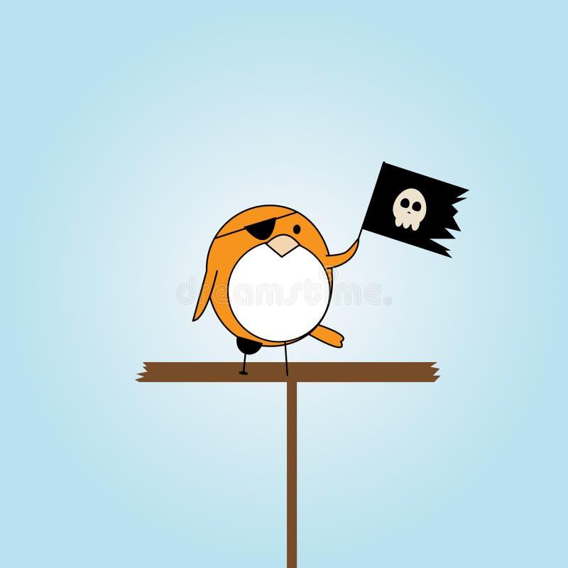 ptasi kreskówki flaga pirata scull ilustracji