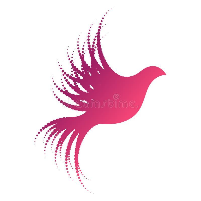 Ptasi loga pojęcie z kropkowanymi skrzydłami i ogonem ilustracji