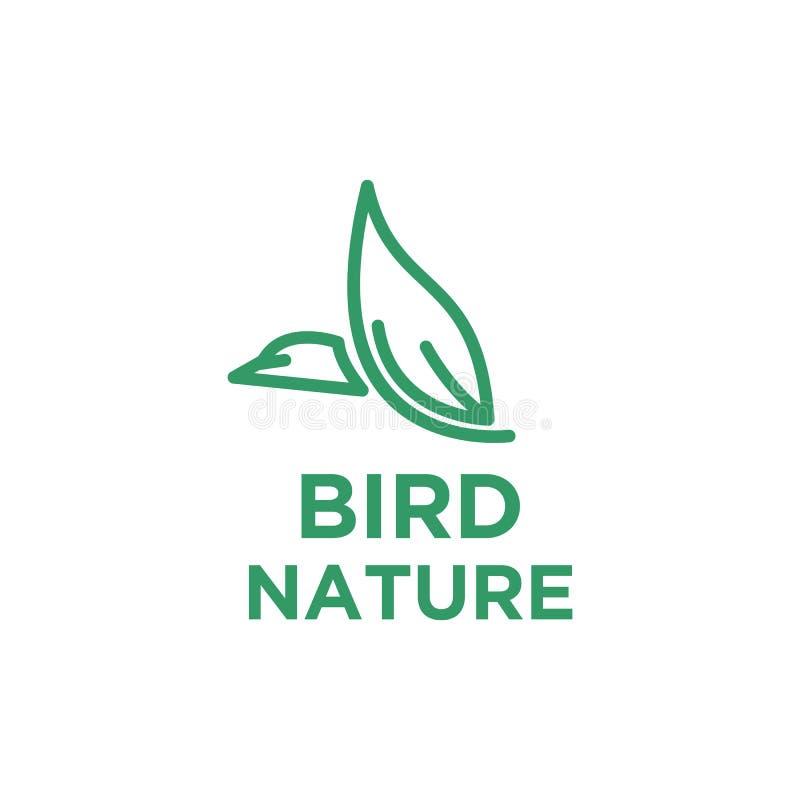 Ptasi logo projekt z liściem royalty ilustracja