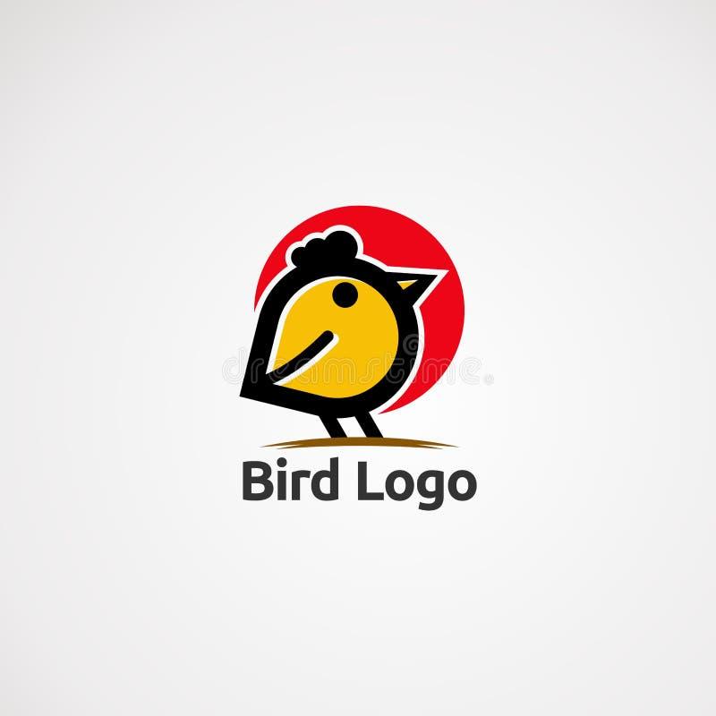 Ptasi logo wektor z czerwonym okręgiem, ulica, ikona, element i szablon dla firmy, royalty ilustracja