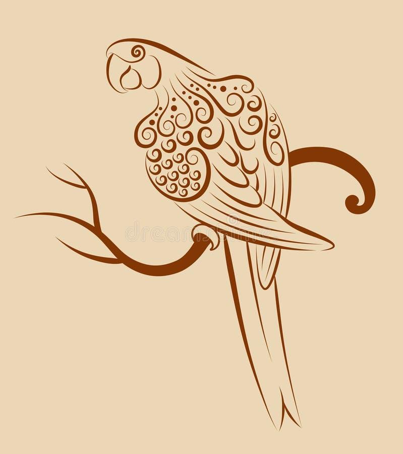 Ptasi ornament 04 (papuga) royalty ilustracja