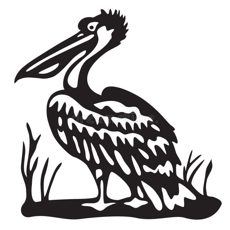 Ptasi pelikan wektor - czarna ilustracja - ilustracja wektor