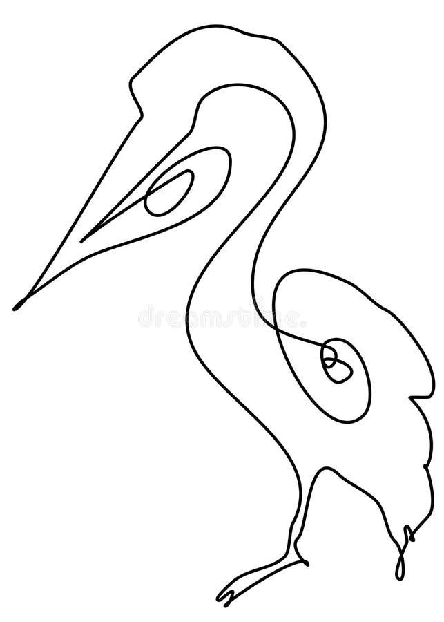 Ptasi pelikan z jeden czerni linią na białym tle zdjęcie stock