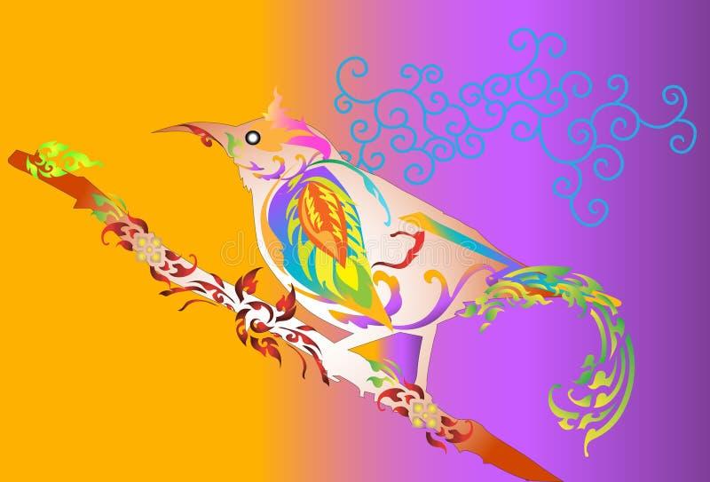 Ptasi sztuka projekt i kreskowy tajlandzki ilustracji