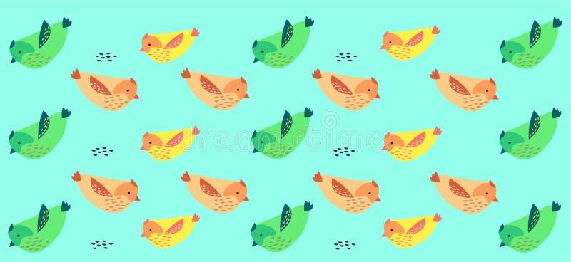 Ptasi tło - wzór z zielenią? różowi i żółci ptaki ilustracji