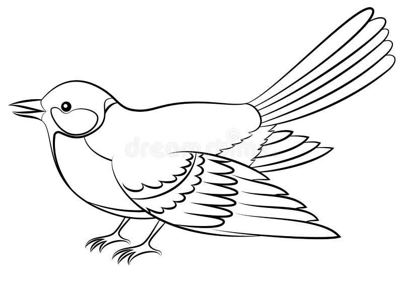 Ptasi Titmouse Odizolowywający kontury ilustracja wektor