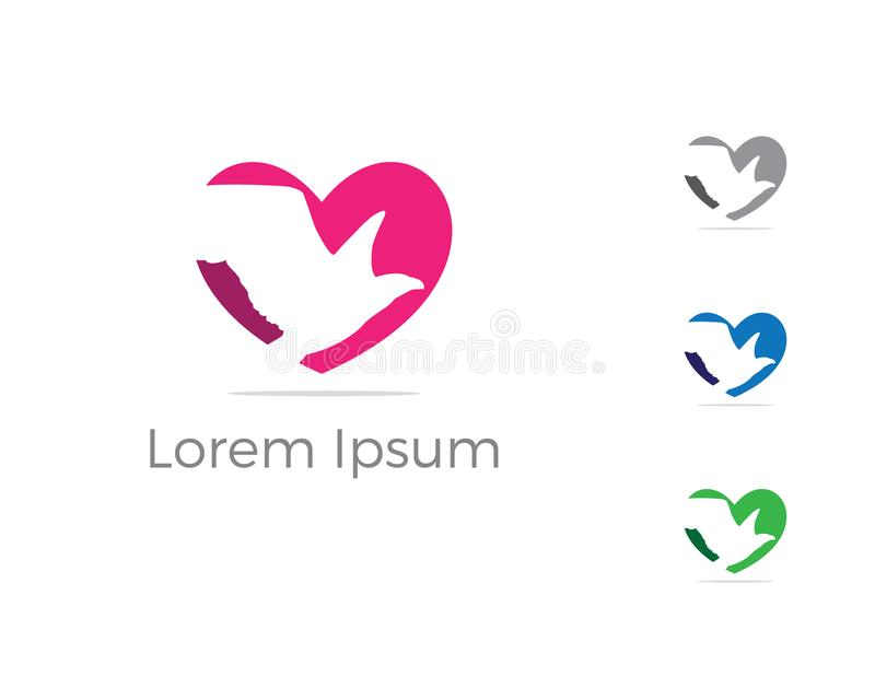 Ptasi wektorowy loga projekt, orzeł w kierowej ikonie royalty ilustracja