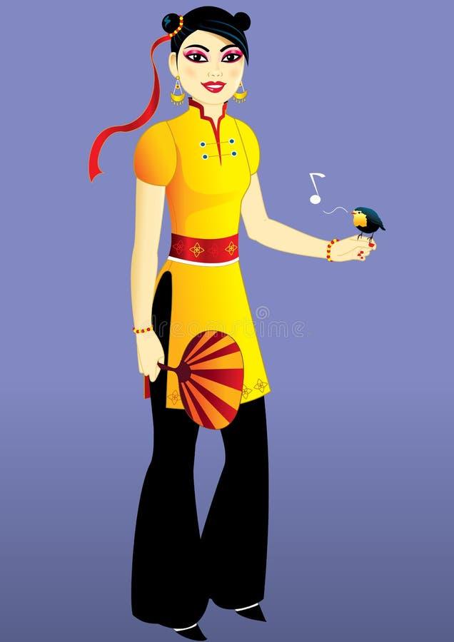 ptasia chińska dziewczyna ilustracji