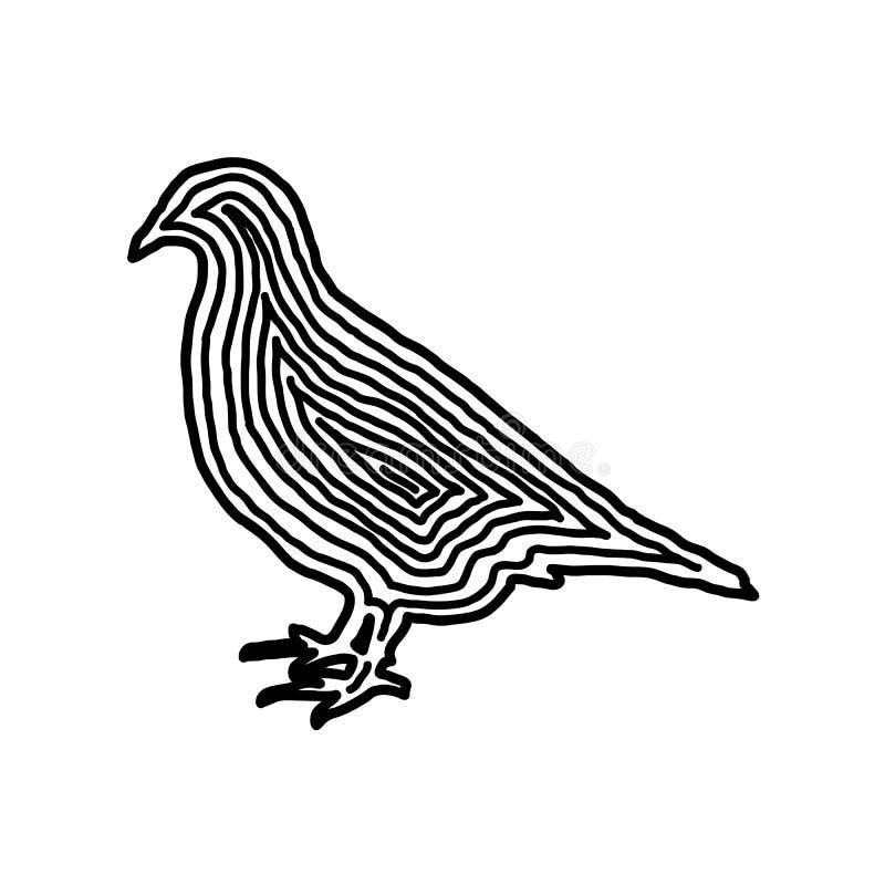 Ptasia ilustracyjna ikona w czerni odsadzki linii Odcisku palca styl ilustracja wektor