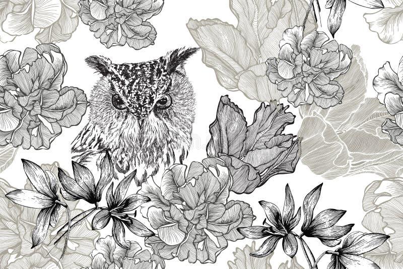 Ptasia sowa i bezszwowy kwiecisty tło z tulipanami i piargiem Pociągany ręcznie, wektorowa ilustracja, ilustracji