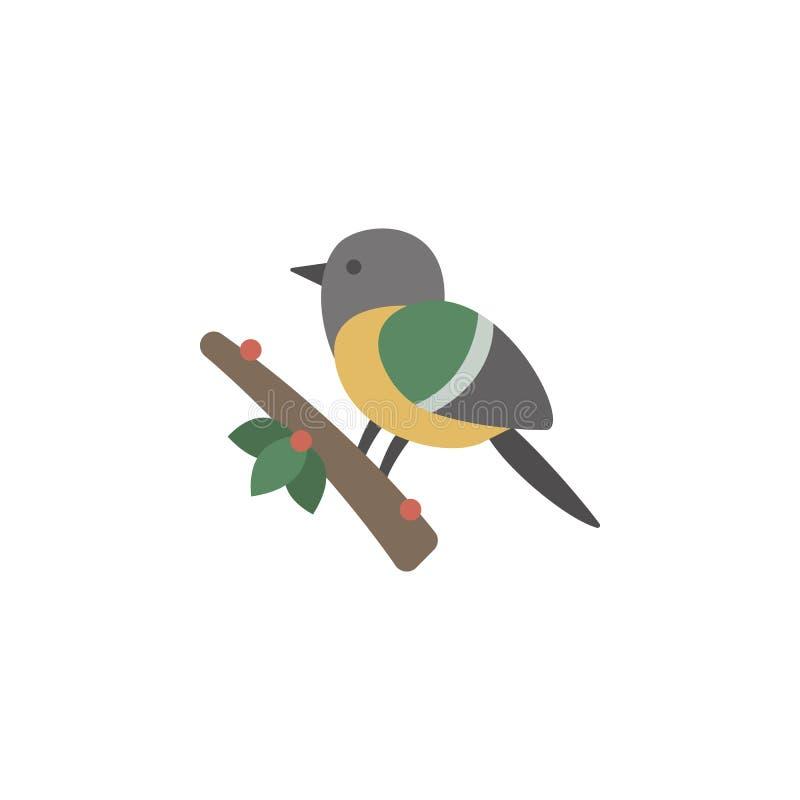 Ptasia zima na gałęziastej kolor ikonie Elementy zimy krainy cudów wielo- barwione ikony Premii ilości graficznego projekta ikona royalty ilustracja