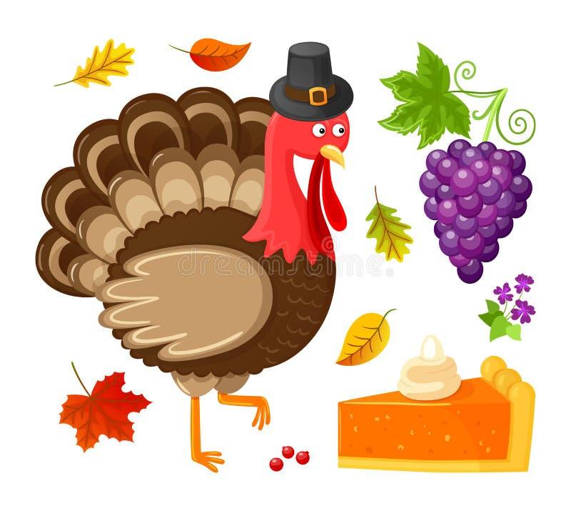 Ptasich dziękczynienie dnia winogron Odosobnione ikony Wektorowe ilustracja wektor
