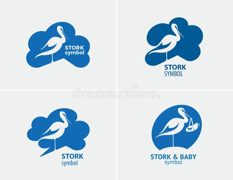 Ptasiego bociana ustalony symbol ilustracja wektor