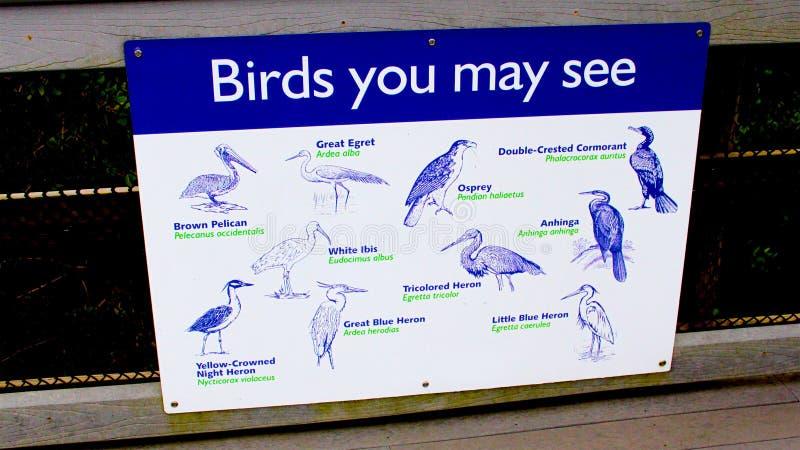 Ptasiego dopatrywania śladu błękitnego i białego metalu znak na przejściu obrazy stock