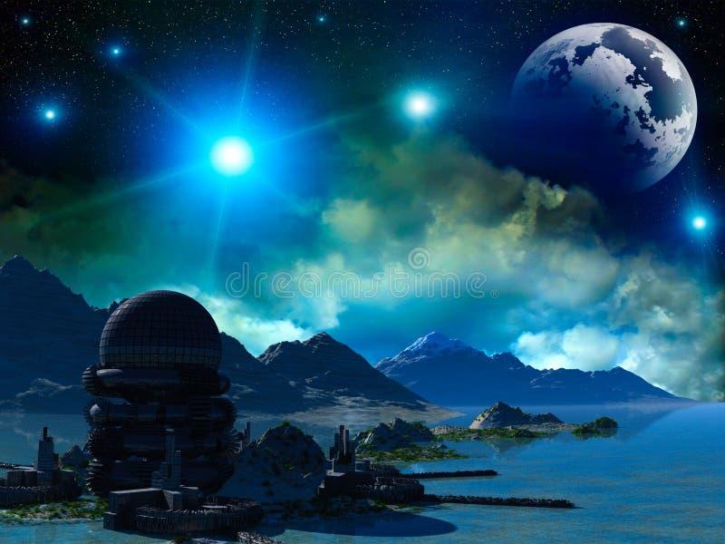 ptasiego fantazi krajobrazu światła magiczny nieba słońca zmierzch ilustracji