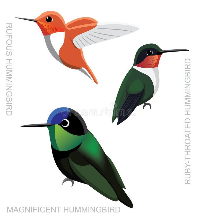 Ptasiego Hummingbird kreskówki wektoru Ustalona ilustracja ilustracja wektor
