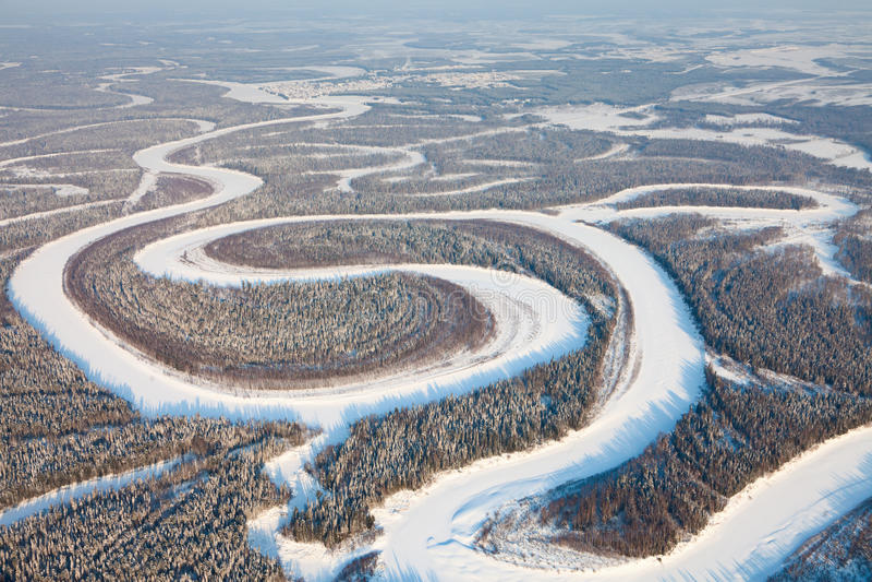 Ptasiego oka widok na lasowej rzece w zimie obraz royalty free