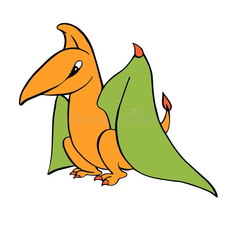 Pteranadone amável engraçado do pterodátilo do dinossauro dos desenhos animados do ` s das crianças ilustração do vetor