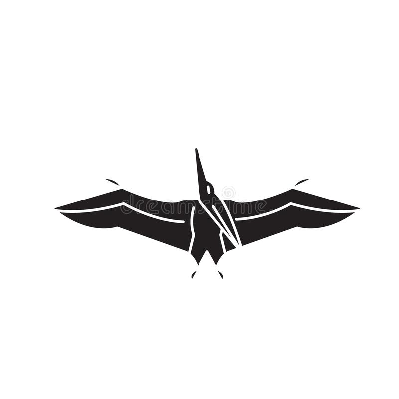 Pteranodon黑色传染媒介概念象 Pteranodon平的例证,标志 皇族释放例证