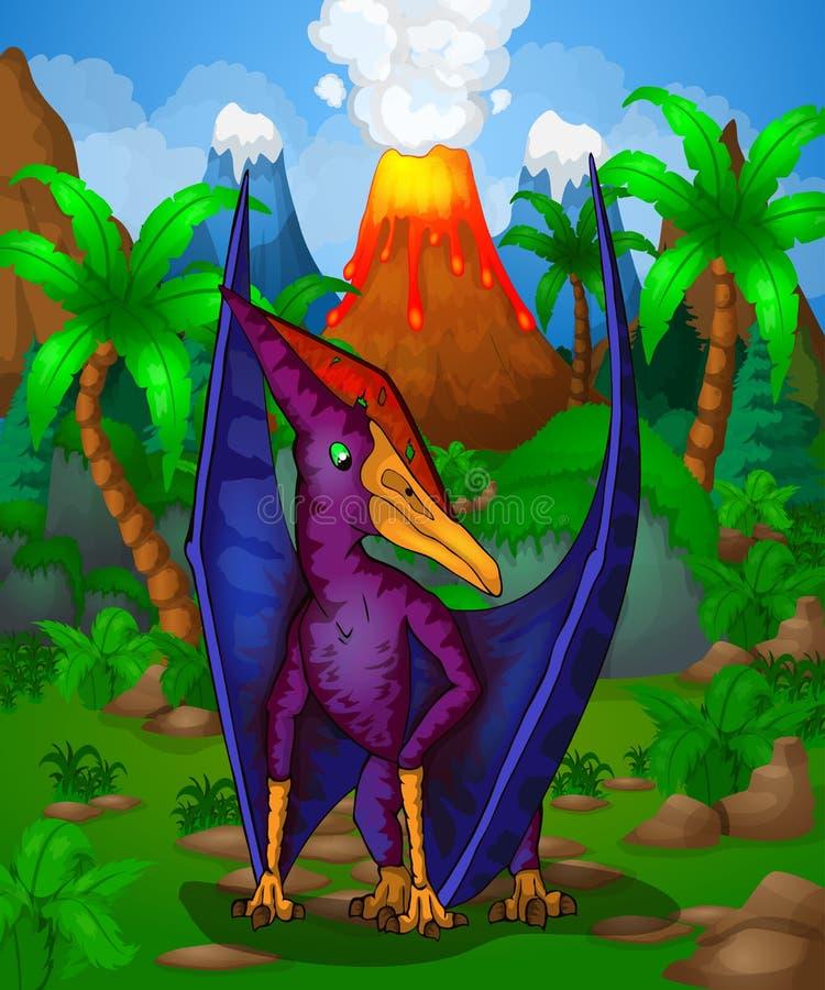 Pteranodon bonito dos desenhos animados Ilustração isolada de um dinossauro dos desenhos animados ilustração do vetor